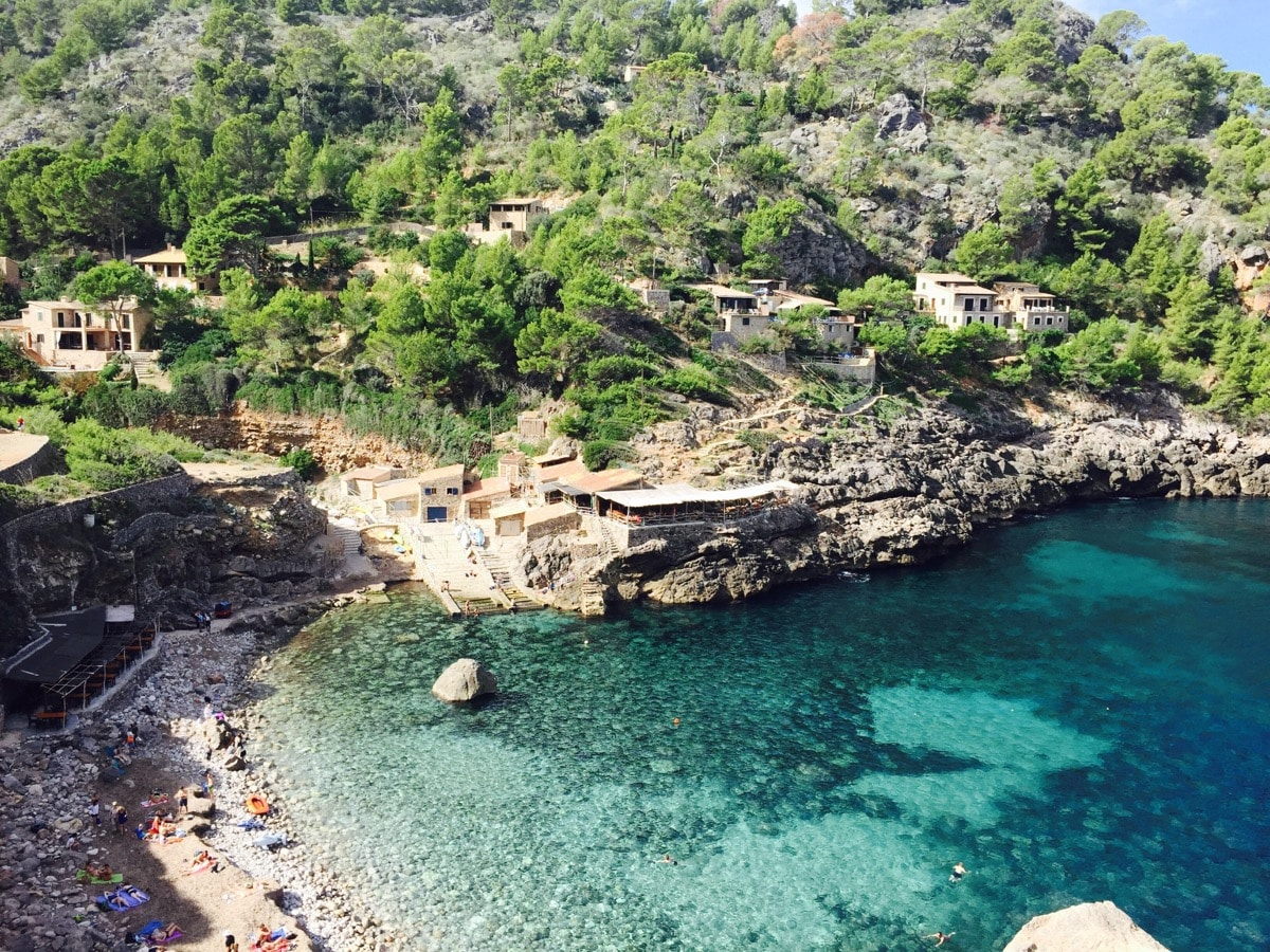 View of Cala Deia beach and landscape