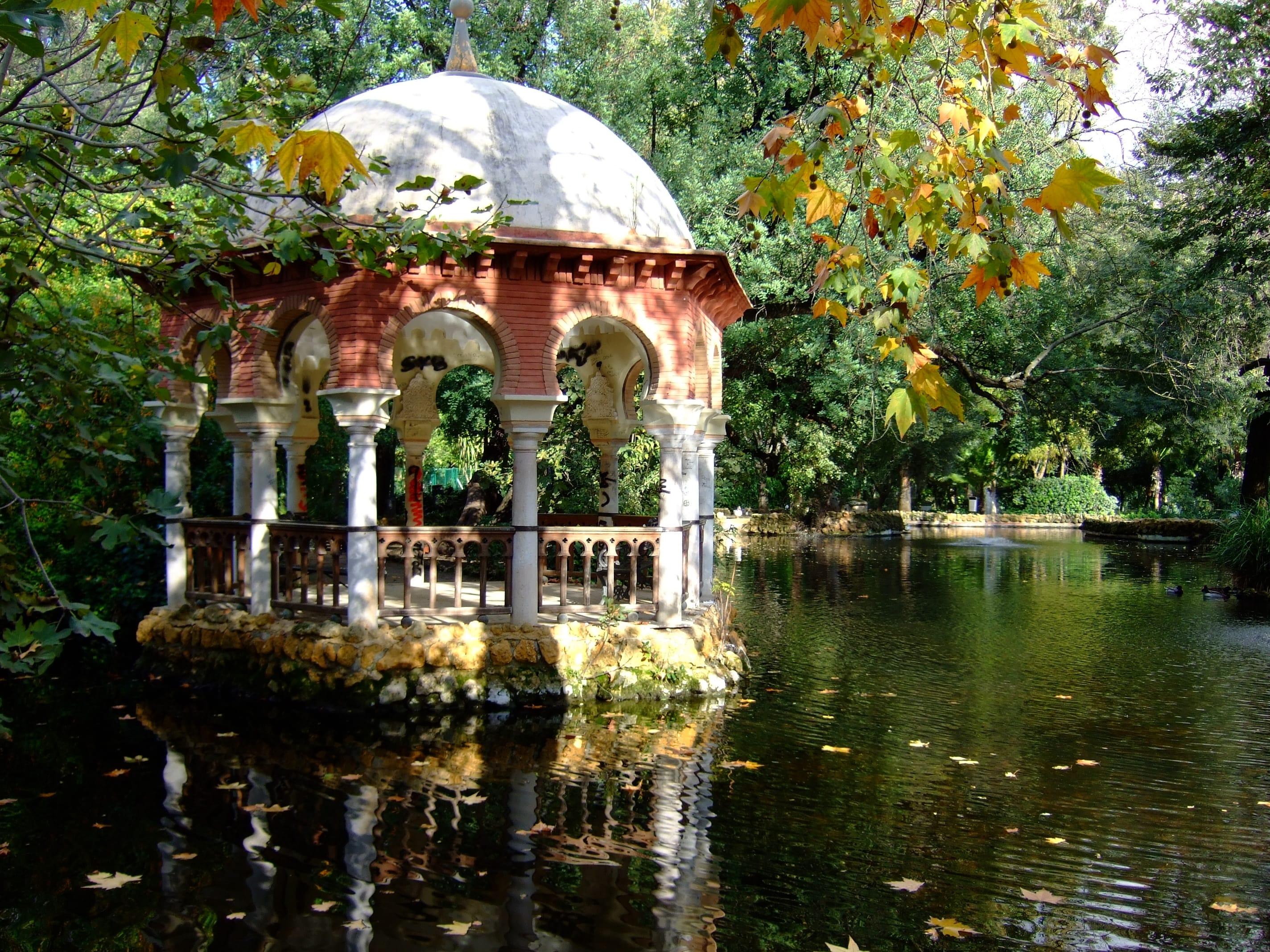 A sevilla vista al aire libre plaza de espa a parque for Jardines de la cartuja