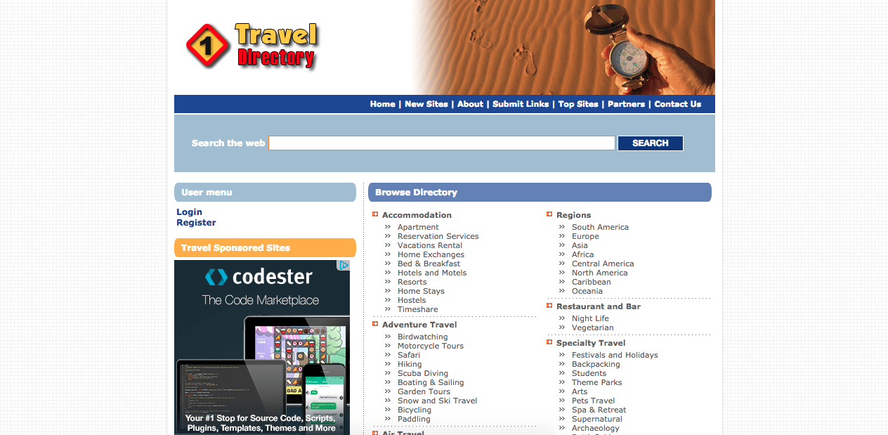 Homepage of 1traveldirectory.com