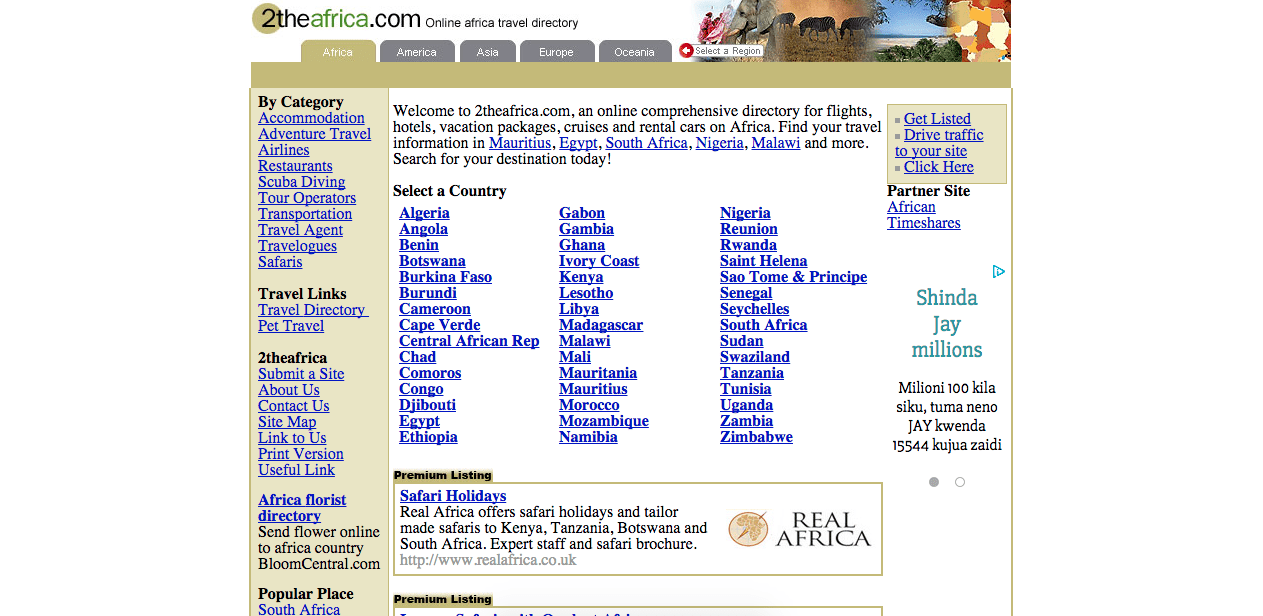 Homepage of 2theafrica.com
