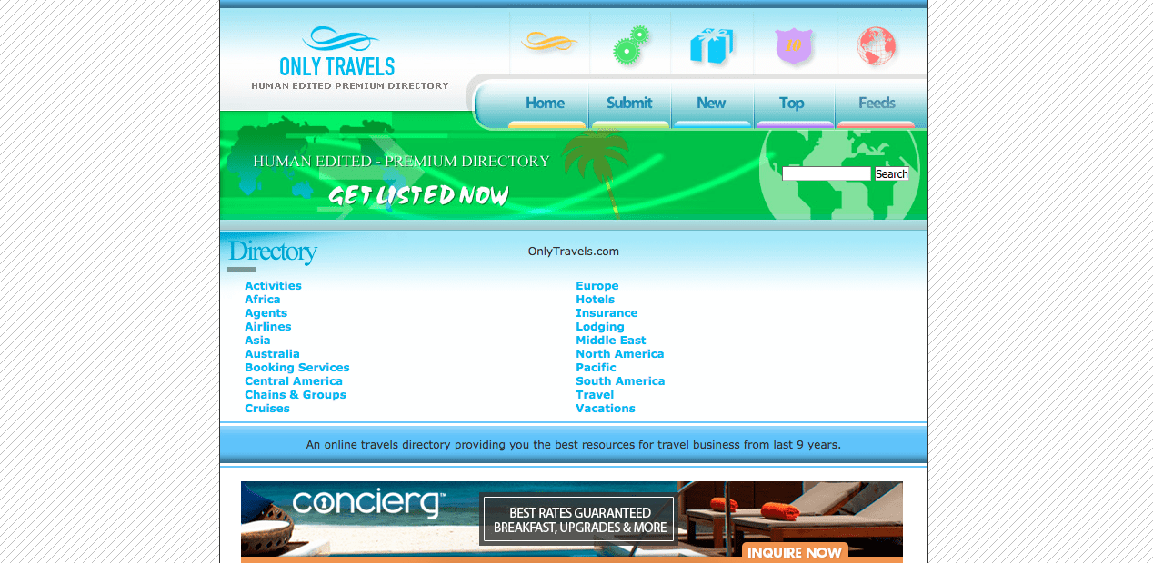 Homepage of freedirectorytravel.com