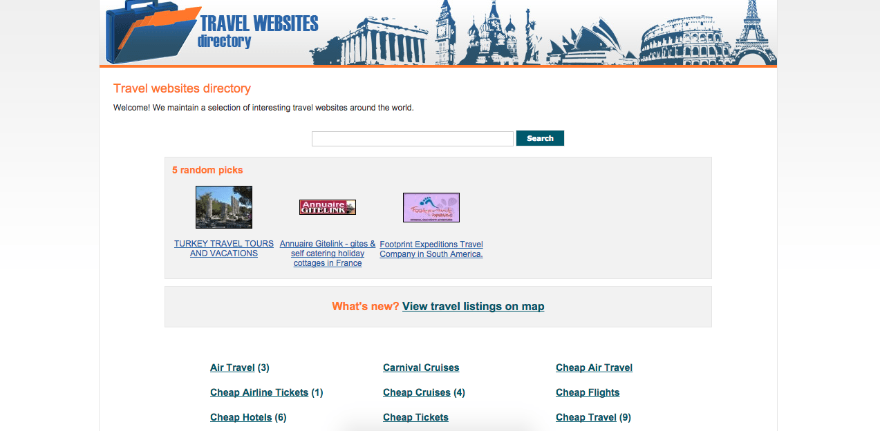 Homepage of travel-websites-directory.com