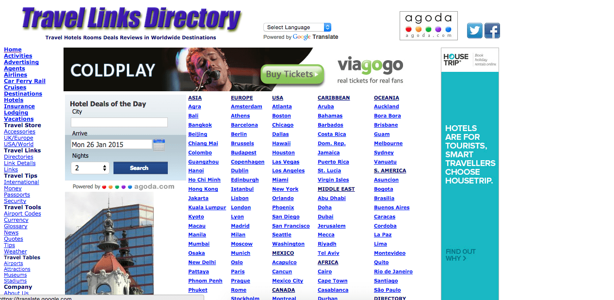 Homepage of travellinksdirectory.com