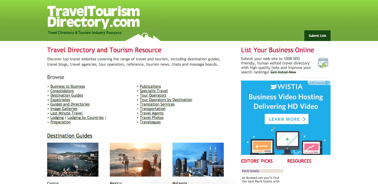 Homepage of traveltourismdirectory.com